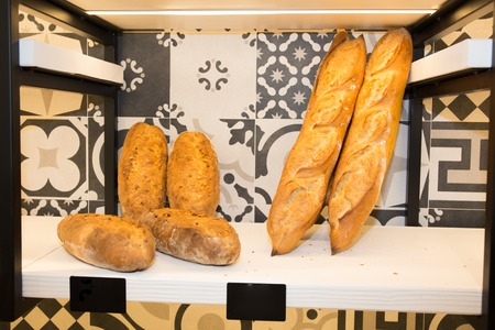 french fancy: Modern bakery with assortment of different bread