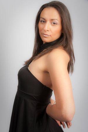 headshoot: Business woman portrait isolated on grey background Stock Photo