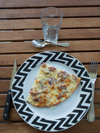 Homemade Pizza with Pepperoni Sausage and Bacon Stock Photo