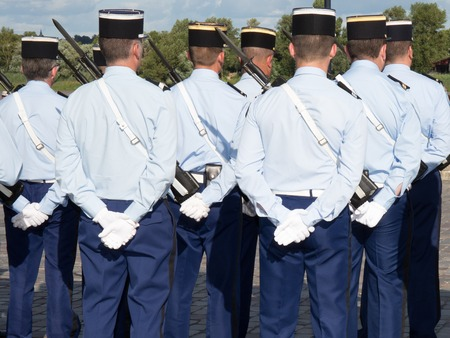 constable: Military parade during the ceremonial of french national day Stock Photo