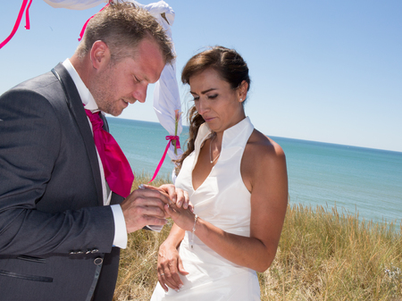Bride and groom exchanging their wedding rings