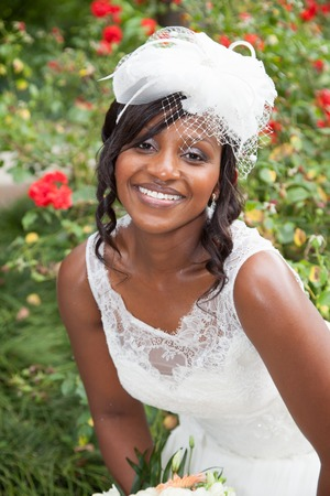 Portrait of a lovely and beautiful bride smiling Stock Photo