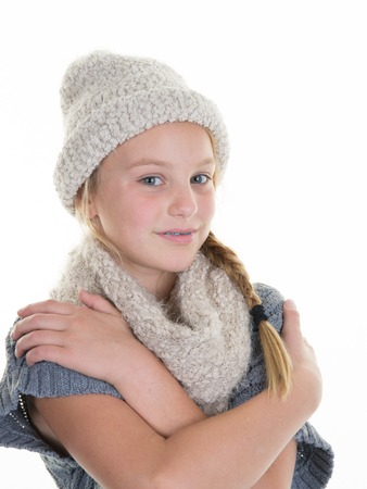 Attractive young girl wearing beret standing isolated Stock Photo