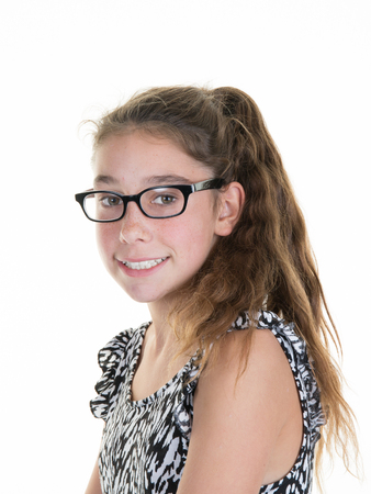 pre: Cute little schoolgirl wearing glasses, isolated over white