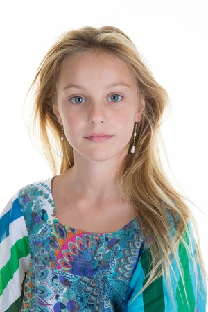 Beautiful fair-haired blond girl , on white background. Stock Photo