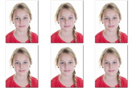 Passport picture or Identification photo of a young blond girl