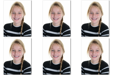 identity card: Passport picture or Identification photo of a young blond girl