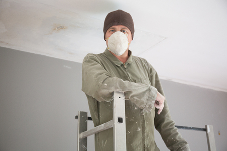 steeplejack: Man painting facade builder worker with roller Stock Photo