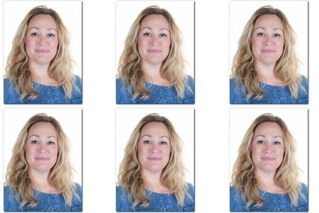 foto de pasaporte de la mujer con el pelo largo y rubio - USA forma -6 fotos