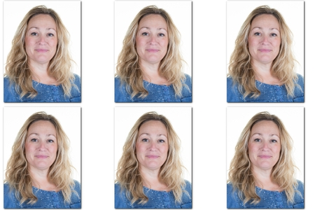 Passport picture of woman with long blond hair - USA form -6 photos