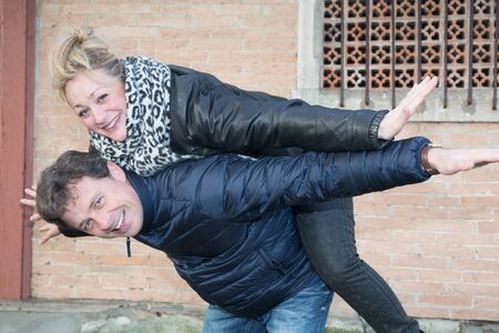 forties: couple forties happiness outdoor in winter or autumn