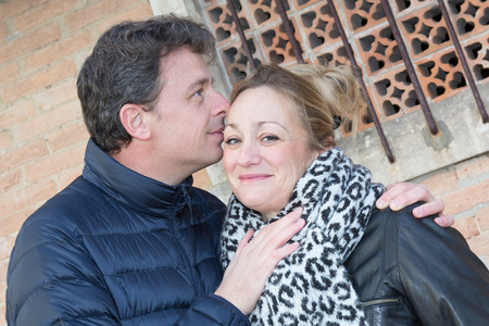 forties: forties couple are in love outdoor