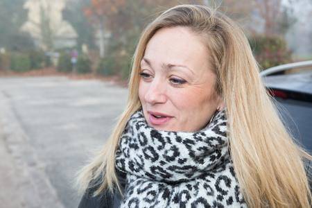 forties: blonde forties with her scarf in the winters