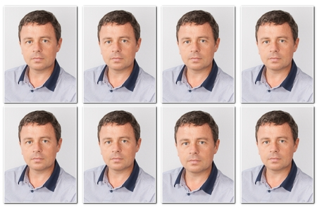 Identification of a serious man for a passport, identity card, ..isolated