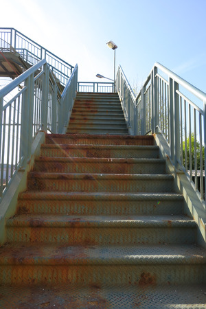 Stock Photo   Very Rusty Metal Stairs Outdoor In Industrial Country