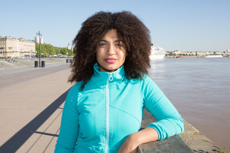 french ethnicity: American woman makes tourism in france at Bordeaux city in Europe Stock Photo