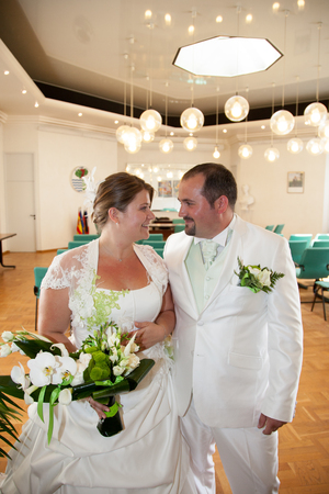 wedding ceremony of beautiful young gorgeous stylish bride and groom Stock Photo