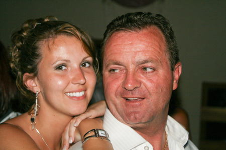 daughter with father in night party in love family