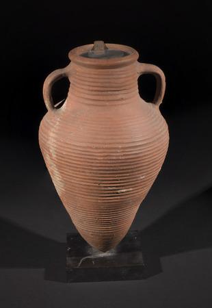 Old Pot Or Antique Roman Historical Vase On Black Background Stock