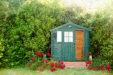 The garden hut at the bottom of the park of the house