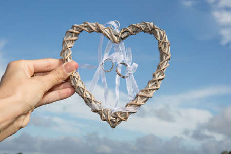 heart love hanging in the bright sky in wedding day