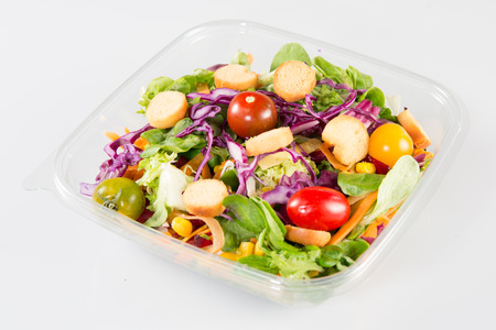 Vegetable salad in take away clear plastic cup