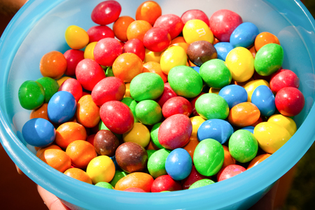 a box full of candy of all colors