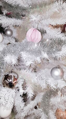 Grey Christmas Tree Decorative With Gray And Pink Photo