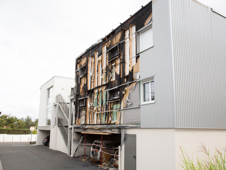 small gray building burned during the night
