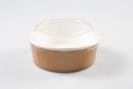 Takeaway Cardboard Food soup Box in White Background