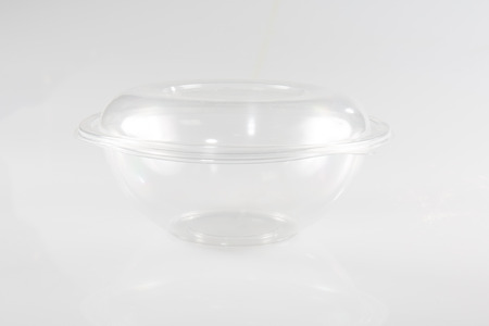White Empty Blank Styrofoam Plastic Food Tray Container Box With Lid, Cover Isolated On White Background