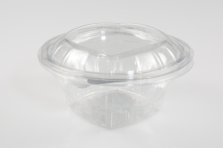 Transparent plastic food container. Catering food packaging. Disposable food box