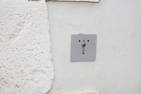 alarm lock on the wall of the house Foto de archivo