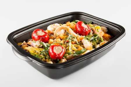 Lunch containers with vegetable salad and fresh food 스톡 콘텐츠