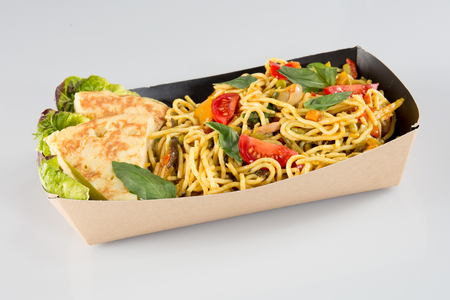 Chinese noodles in carton box Stock Photo