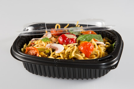 box Chinese food isolated in white background