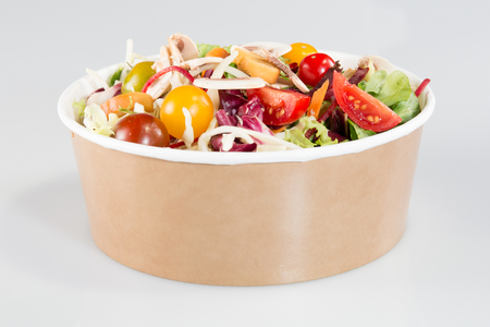 take away bowl paper carton kraft with fast food salad