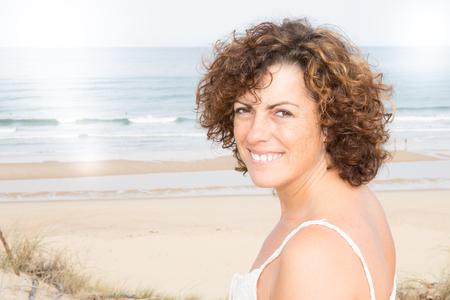 vacation woman in summer beach Banco de Imagens
