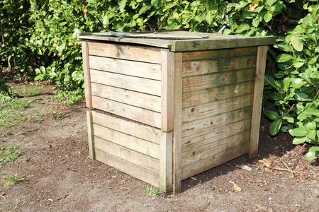 a compost bin with organic material