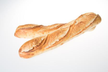 Boulangerie de baguette française croisée en blanc Banque d'images
