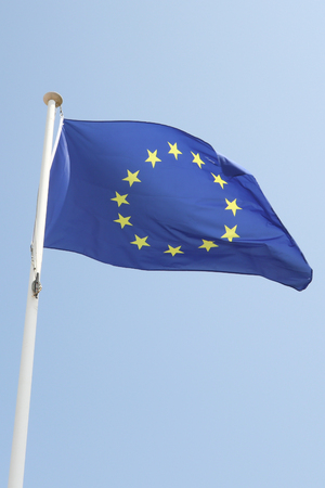 flag european on a mat in the wind and blue sky