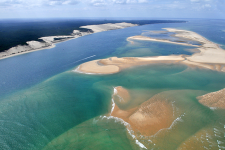 aerial plane view of bassin Arcachon near bordeaux in France with dune du pyla Standard-Bild