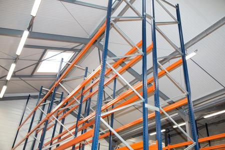 warehouse optimisation shelving storage, metal, pallet racking system Stock Photo