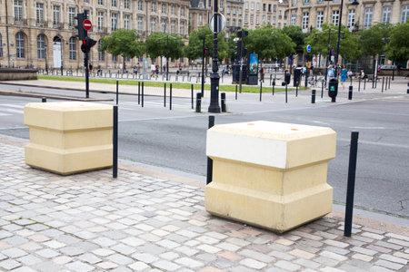 Bordeaux, Aquitaine  France - 06 11 2018 : Blocstop concrete block anti intrusion attack bombing Editorial