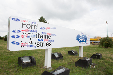 Blanquefort Bordeaux, Aquitaine France - 06 14 2018 : Ford usa car gearbox production workers in France fight plans to close factory Editorial