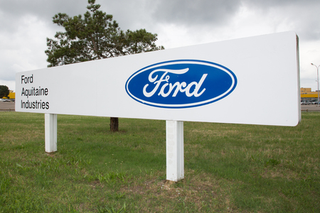 Blanquefort Bordeaux, Aquitaine France - 06 14 2018 : Ford Factory car gearbox production Blanquefort announces a social plan, the government wants to privilege the pursuit of activity