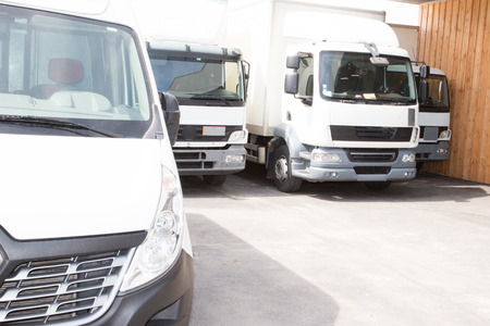 delivery trucks ready to go to deliver the parcels