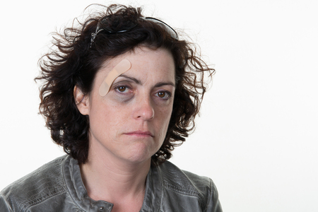 unhappy woman domestic violence in family Life Hurts Stock Photo