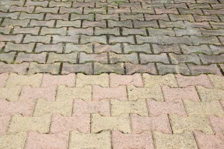 Pavimentazione sporca con muschio denso che richiede pulizia prima e dopo Archivio Fotografico