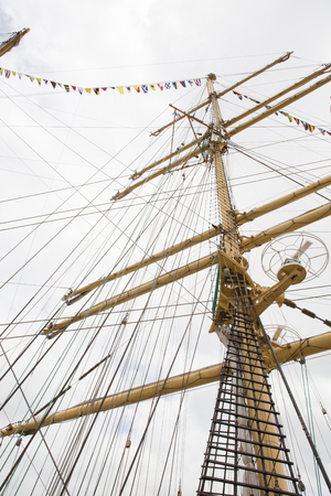 view of mast of ship and Detailed rigging with sails